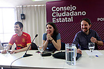 Juan Manuel del Olmo, Secretary of Communication (l), Irene Montero, Speaker in Congress (c) and Pablo Iglesias, General Secretary, during the Consejo Ciudadano Estatal - State Citizen Council of Podemos. (ALTERPHOTOS/Acero)