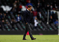 23rd May 2021; Craven Cottage, London, England; English Premier League Football, Fulham versus Newcastle United; Fulham Manager Scott Parker walking off the pitch after full time