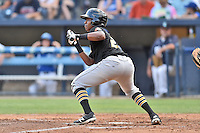West Virginia Power third baseman Ke'Bryan Hayes (22) squares to bunt during a game against the Asheville Tourists at McCormick Field on June 24, 2016 in Asheville, North Carolina. The Power defeated the Tourists 11-3. (Tony Farlow/Four Seam Images)