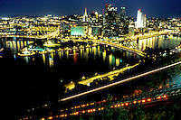 Pittsburgh, skyline, PA, aerial, Pennsylvania, downtown skyline of Pittsburgh, Monongahela River, night. Incline tracks are illuminated.