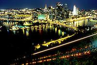 Pittsburgh, skyline, PA, aerial, Pennsylvania, downtown skyline of Pittsburgh, Monongahela River, night. Incline tracks are illuminated.