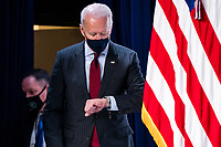 US President Joseph Biden prepares to announce changes to the Paycheck Protection Program (PPP) in the Eisenhower Executive Office Building in Washington, DC, USA, 22 February 2021. The Senate failed to convict the former president on a single charge of inciting insurrection. The Biden administration is attempting to provide more targeted relief to small businesses with the next round of PPP loans.<br /> Credit: Jim LoScalzo / Pool via CNP /MediaPunch