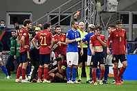 Referee Sergei Karasev shows the red card to Leonardo Bonucci of Italy during the Uefa Nations League semi-final football match between Italy and Spain at San Siro stadium in Milano (Italy), October 6th, 2021. Photo Andrea Staccioli / Insidefoto
