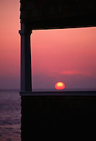 The sun rests on the porch of the Springhouse Hotel before ending another beautiful day in Block Island.