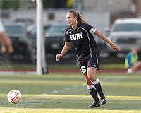 New York Fury defender Nikki Krzysik (15) at midfield. In a Women's Premier Soccer League Elite (WPSL) match, the Boston Breakers defeated New York Fury, 2-0, at Dilboy Stadium on June 23, 2012.