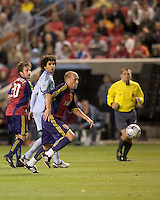 Real Salt Lake midfielder Clint Mathis (84) brings ball out. Real Salt Lake tied the Colorado Rockies, 1-1, at Rio Tinto Stadium on June 6, 2009.