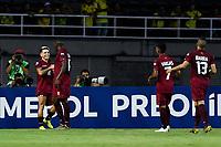 PEREIRA - COLOMBIA, 30-01-2020: Yeferson Soteldo (#11) de Venezuela celebra después de anotar el primer gol de su equipo durante partido entre Venezuela U-23 y Argentina U-23 por la fecha 5, grupo A, del CONMEBOL Preolímpico Colombia 2020 jugado en el estadio Hernán Ramírez Villegas de Pereira, Colombia. / Yeferson Soteldo (11) of Venezuela celebrates after scoring the first goal of his team during the match between Venezuela U-23 and Argentina U-23 for the date 5, group A, for the CONMEBOL Pre-Olympic Tournament Colombia 2020 played at Hernan Ramirez Villegas stadium in Pereira, Colombia. Photo: VizzorImage / Julian Medina / Cont