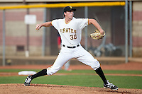 Bristol Pirates starting pitcher Gage Hinsz (30) in action against the Johnson City Cardinals at Boyce Cox Field on July 7, 2015 in Bristol, Virginia.  The Cardinals defeated the Pirates 4-1 in game one of a double-header. (Brian Westerholt/Four Seam Images)
