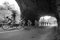 Vincenzo Nibali (ITA/Astana) & team under 1 of the rock tunnels of the Gorges du Tarn<br /> <br /> stage 14: Rodez - Mende (178km)<br /> 2015 Tour de France