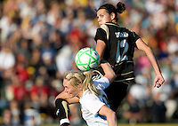 07 June 2009: Christine Sinclair of the FC Gold Pride battles for the ball in the air against Natalie Spilger of the Red Stars during the game at Buck Shaw Stadium in Santa Clara, California.   FC Gold Pride tied Chicago Red Stars, 1-1.