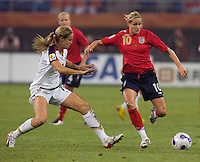 Leslie Osborne, Kelly Smith. The USA defeated England, 3-0 during the quarterfinals of the FIFA Women's World Cup in Tianjin, China.  The USA defeated England, 3-0.