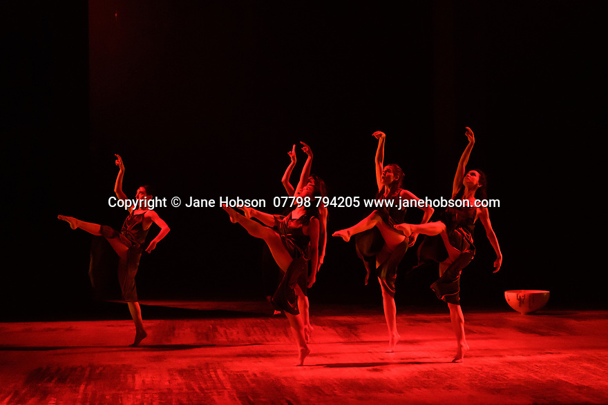 """London, UK. 20.02.20. The Barbican presents Viviana Durante Company, in the world premiere of """"Isadora Now"""", an evening paying tribute to feminist icon, Isadora Duncan, in the Barbican theatre. The piece shown is: DANCE OF THE FURIES, choreographed by Isadora Duncan, re-staged by Barbara Kane and Viviana Durante. The dancers are: Begona Cao, Christina Cecchini, Nikita Goile, Charmene Pang, Serena Zaccagnini.  Photograph © Jane Hobson."""