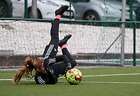 Faye Lammertijn goalkeeper of OHL (22) catches the ball during the warm up before a female soccer game between Oud Heverlee Leuven and Femina White Star Woluwe  on the 5 th matchday of the 2020 - 2021 season of Belgian Womens Super League , Sunday 18 th of October 2020  in Heverlee , Belgium . PHOTO SPORTPIX.BE | SPP | SEVIL OKTEM