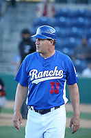 Rancho Cucamonga Quakes Manager Bill Haselman (33) coaches third base during a game against the San Jose Giants at LoanMart Field on August 30, 2015 in Rancho Cucamonga, California. Rancho Cucamonga defeated San Jose, 8-3. (Larry Goren/Four Seam Images)