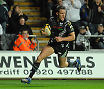 Ospreys Lee Byrne thinks he is home free, only to be halted by the Referee. Swansea Neath Ospreys Vs Newport Gwent Dragons, Magners league, Liberty Stadium © IJC Photography. Photographer Ian Cook