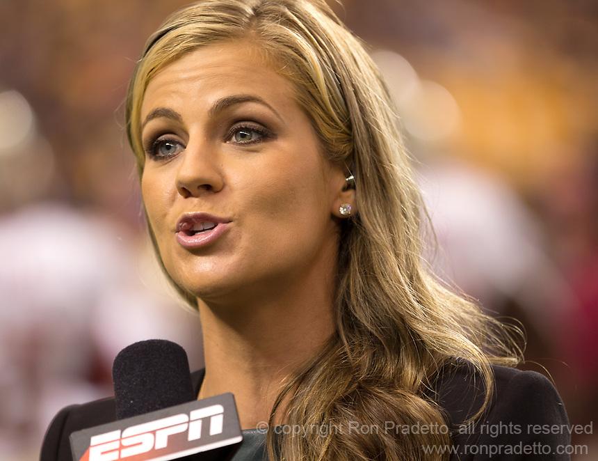 ESPN sideline reporter Samantha Ponder. Florida State defeated Pitt 41-13 at Heinz Field on September 2, 2013.