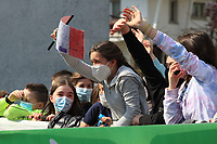 22nd April 2021;  Cycling Tour des Alpes Stage 4, Naturns/Naturno to Pieve di Bono, Italy on 22nd; Fans cheer on the riders wearing masks