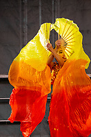 Chinese Girl Ribbon Dance Performer, Chinese New Year, Chinatown, Seattle, WA, USA.