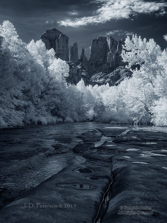 Looking Up to Cathedral Rock (Infrared)