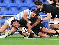 12th September 2021; Cbus Super Stadium, Robina, Queensland, Australia; Rugby International series, New Zealand versus Argentina:  David Havili is stopped in his run