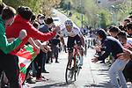 Spanish Champion Luis León Sanchez (ESP) Astana Premier Tech tries in vain to catch Alejandro Valverde (ESP) Movistar Team during the Gran Premio Miguel Indurain 2021, running 203.2km from Estella to Lizarra, Spain. 3rd April 2021.  <br /> Picture: Luis Angel Gomez/Photogomezsport | Cyclefile<br /> <br /> All photos usage must carry mandatory copyright credit (© Cyclefile | Luis Angel Gomez/Photogomezsport)