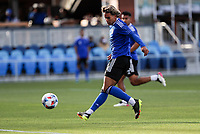 SAN JOSE, CA - MAY 15: Cade Cowell #44 of the San Jose Earthquakes passes off the ball during a game between Portland Timbers and San Jose Earthquakes at PayPal Park on May 15, 2021 in San Jose, California.