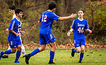 WOODBURY, CT-111120JS22 —Nonnewaug's Pedro Prates (10) and Jon Khazzaka (12) congratulate teammate David DeForge (40) after he scored a goal in the second half of their game against Wolcott Tech Wednesday at Nonnewaug High School. <br /> Jim Shannon Republican-American