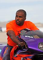 Nov. 1, 2008; Las Vegas, NV, USA: NHRA pro stock motorcycle rider Mike Phillips during qualifying for the Las Vegas Nationals at The Strip in Las Vegas. Mandatory Credit: Mark J. Rebilas-