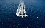 Aerial photo shoot of l'Hydroptère DCNS, Alain Thébault and his crew (Yves Parlier, Jean le Cam, Jacques Vincent, Luc Alphand)  during the first series of trials on the Med before trying to beat the Pacific crossing record between Los Angeles and Honolulu next summer. La Ciotat in the Bouches-du-Rhône, Provence-Alpes-Côte d'Azur, France. ( http://hydroptere.com/news/466/98/Cordee-de-legende/ )