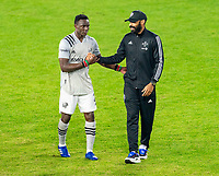 WASHINGTON, DC - NOVEMBER 8: Zachary Brault-Guillard #15 of the Montreal Impact walks off the field with Thierry Henry after a game between Montreal Impact and D.C. United at Audi Field on November 8, 2020 in Washington, DC.