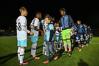 Players and mascots ahead of the The Checkatrade Trophy match between Wycombe Wanderers and West Ham United U21 at Adams Park, High Wycombe, England on 4 October 2016. Photo by David Horn.