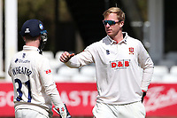 Simon Harmer of Essex celebrates taking the wicket of Matt Salisbury during Essex CCC vs Durham CCC, LV Insurance County Championship Group 1 Cricket at The Cloudfm County Ground on 16th April 2021