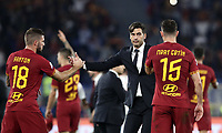 Football, Serie A: AS Roma - AC Milan, Olympic stadium, Rome, October 27, 2019. <br /> Roma's coach Paulo Fonseca (c) celebrates with his players after winning 2-1 the Italian Serie A football match between Roma and Milan at Olympic stadium in Rome, on October 27, 2019. <br /> UPDATE IMAGES PRESS/Isabella Bonotto