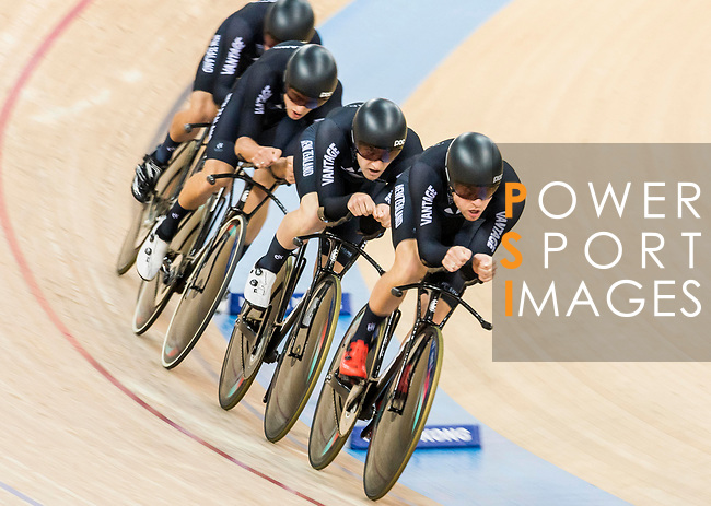 The team of New Zealand with Regan Gough, Pieter Bulling, Dylan Kennett and Nicholas Kergozou competes in the Men's Team Pursuit - Finals as part of the 2017 UCI Track Cycling World Championships on 13 April 2017, in Hong Kong Velodrome, Hong Kong, China. Photo by Chris Wong / Power Sport Images