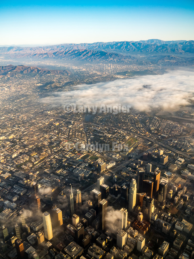LA basin, hills and cities in the morning mist, California from a window seat–America's flyover country: SMF-LAX-MDW