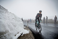 Mikel Nieve (ESP/BikeExchange) coming over the Passo Giau<br /> <br /> due to the bad weather conditions the stage was shortened (on the raceday) to 153km and the Passo Giau became this years Cima Coppi (highest point of the Giro).<br /> <br /> 104th Giro d'Italia 2021 (2.UWT)<br /> Stage 16 from Sacile to Cortina d'Ampezzo (shortened from 212km to 153km)<br /> <br /> ©kramon