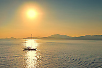 Sailing near Hydra island in Greece
