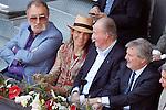 Tennis legend Ion Tiriac, Infanta Elena of Spain, King Juan Carlos I of Spain and the Minister of Culture and Sports of Spain Inigo Méndez de Vigo during Madrid Open Tennis 2016 match.May, 3, 2016.(ALTERPHOTOS/Acero)