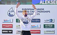 50m Backstroke Men<br /> Podium<br /> TKACHEV Aleksei A. RUS Russia Gold Medal<br /> LEN European Junior Swimming Championships 2021<br /> Rome 2179<br /> Stadio Del Nuoto Foro Italico <br /> Photo Andrea Masini / Deepbluemedia / Insidefoto
