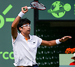 March 28 2018: Hyeon Chung (KOR) loses to John Isner (USA) 1-6, 4-6, at the Miami Open being played at Crandon Park Tennis Center in Miami, Key Biscayne, Florida. ©Karla Kinne/Tennisclix/CSM