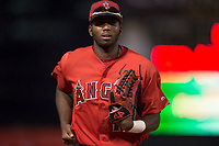 AZL Angels center fielder Trent Deveaux (17) jogs off the field between innings of an Arizona League game against the AZL Diamondbacks at Tempe Diablo Stadium on June 27, 2018 in Tempe, Arizona. AZL Angels defeated the AZL Diamondbacks 5-3. (Zachary Lucy/Four Seam Images)