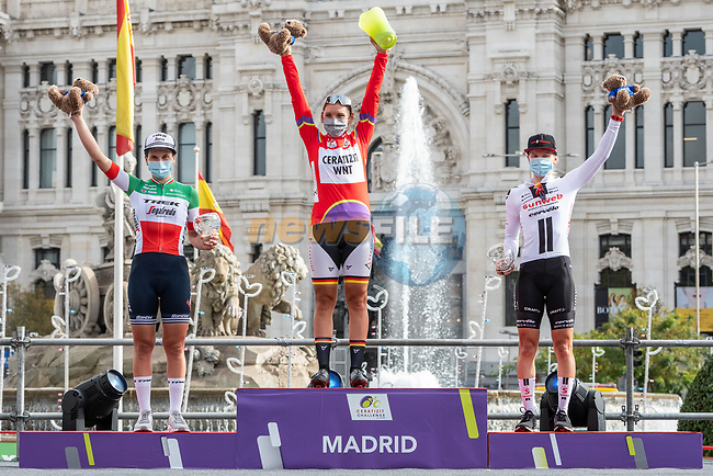 The final overall podium winner Lisa Brennauer (GER) CERATIZIT-WNT Pro Cycling Team, 2nd Elisa Longo Borghini (ITA) Trek-Segafredo and 3rd Lorena Wiebes (NED) Team Sunweb at the end of Stage 3 of the CERATIZIT Challenge by La Vuelta 2020, running 98.6km around the streets of Madrid, Spain. 8th November 2020.<br /> Picture: Antonio Baixauli López/BaixauliStudio   Cyclefile<br /> <br /> All photos usage must carry mandatory copyright credit (© Cyclefile   Antonio Baixauli López/BaixauliStudio)