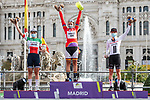 The final overall podium winner Lisa Brennauer (GER) CERATIZIT-WNT Pro Cycling Team, 2nd Elisa Longo Borghini (ITA) Trek-Segafredo and 3rd Lorena Wiebes (NED) Team Sunweb at the end of Stage 3 of the CERATIZIT Challenge by La Vuelta 2020, running 98.6km around the streets of Madrid, Spain. 8th November 2020.<br /> Picture: Antonio Baixauli López/BaixauliStudio | Cyclefile<br /> <br /> All photos usage must carry mandatory copyright credit (© Cyclefile | Antonio Baixauli López/BaixauliStudio)