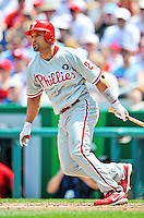 30 May 2011: Philadelphia Phillies third baseman Placido Polanco in action during a game against the Washington Nationals at Nationals Park in Washington, District of Columbia. The Phillies defeated the Nationals 5-4 to take the first game of their 3-game series. Mandatory Credit: Ed Wolfstein Photo