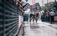 Elia Viviani (ITA/Quick Step Floors) wins his 4th 2018 Giro stage in the pooring rain<br /> <br /> stage 17: Riva del Garda - Iseo (155 km)<br /> 101th Giro d'Italia 2018