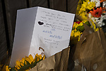 © Joel Goodman - 07973 332324 . 09/07/2017 . Bolton , UK . Card and flowers left opposite the scene on Rosamond Street in Daubhill , where a fatal house fire burned through a mid-terrace house yesterday morning (Saturday 8th July 2017) . Anisha Umerji (40) her two sons Hammad (12) and Yusuf (ten) and her daughter Khadija (five) all died in the blaze. Their father Zubair (Anisha's husband) remains in hospital . Photo credit : Joel Goodman