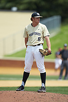 Wake Forest Demon Deacons pitcher Colin Peluse (8) looks to his catcher for the sign against the Virginia Cavaliers at David F. Couch Ballpark on May 19, 2018 in  Winston-Salem, North Carolina. The Demon Deacons defeated the Cavaliers 18-12. (Brian Westerholt/Four Seam Images)