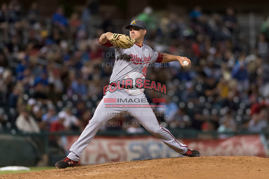 AFL East relief pitcher Ben Braymer (43), of the Salt River Rafters and the Washington Nationals organization, delivers a pitch during the Arizona Fall League Fall Stars game at Surprise Stadium on November 3, 2018 in Surprise, Arizona. The AFL West defeated the AFL East 7-6 . (Zachary Lucy/Four Seam Images)