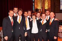 04-04-12, Netherlands, Amsterdam, Tennis, Daviscup, Netherlands-Rumania, Dinner, Team