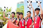 Vietnam Team celebrates after winning the Silver Prize in the Rowing Men's competition on Day Eight of the 5th Asian Beach Games 2016 at Bien Dong Park on 01 October 2016, in Danang, Vietnam. Photo by Marcio Machado / Power Sport Images